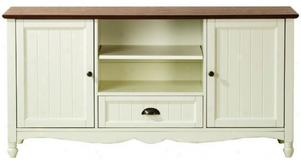 """southport 2-door Tv Stand - 26""""hx53""""wx20"""", Ivory And Oak"""
