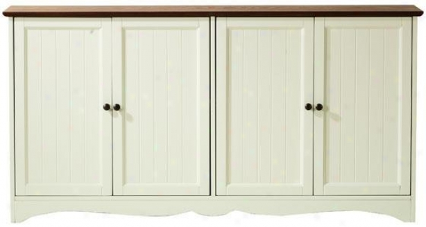 """""""southport 4-door Sideboard - 30""""""""hx58""""""""wx14.5"""""""", Ivory And Oak"""""""