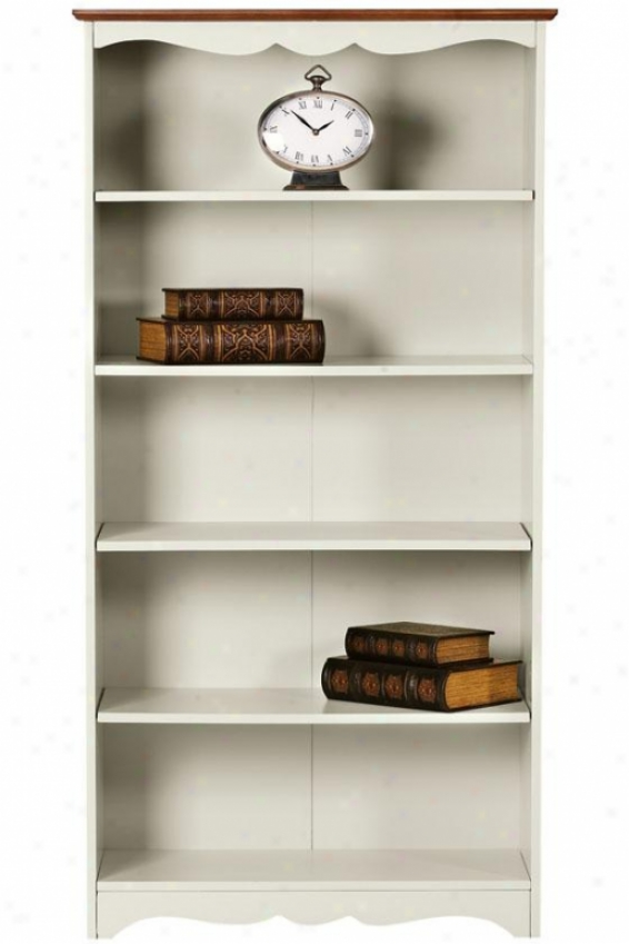 """soufhport 5-shelf Bookcase - 60"""" Open, Ivory And Oak"""