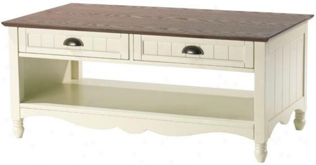 """southport Coffee Table - 18""""hx42""""wx24"""", Ivory And Oak"""