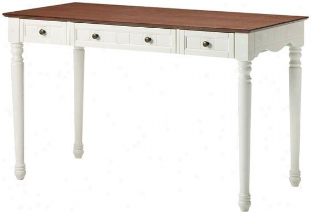 """southport Computer Desk - 30""""hx48""""w X24"""", Ivory And Oak"""