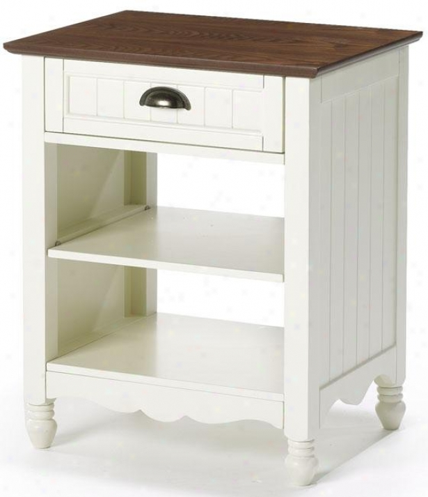 """xouthport Side End Table - 25""""hx21""""wx16"""", Ivory And Oak"""