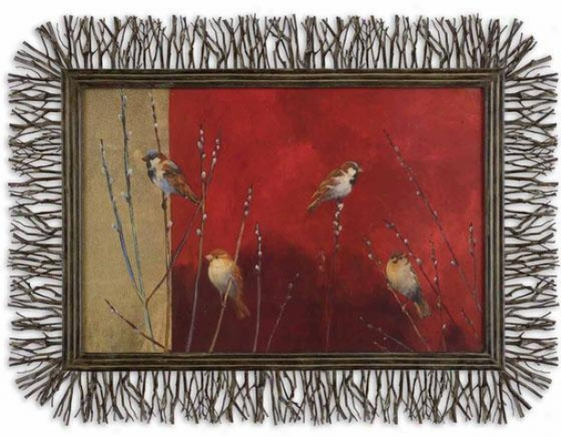 """sparrows In Willow Wall Art - 48""""wx36""""h, Red"""