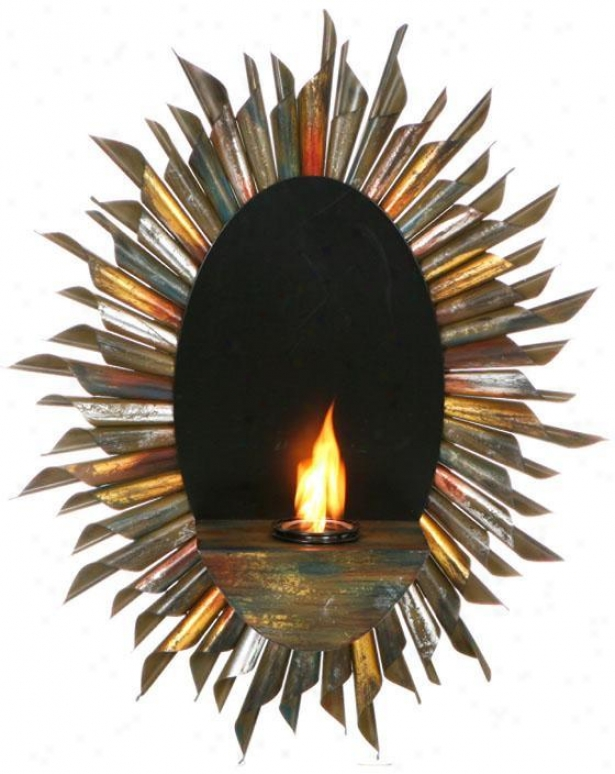"""spiral Sunburst Wall Candle-holder - 29.5""""wx9""""d, Multi"""