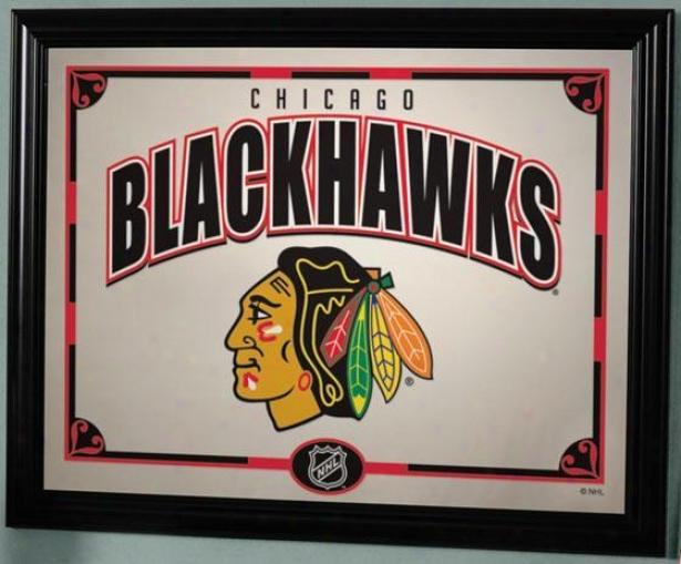 Sports Team Nhl Framed Mirror - Nhl Teams, Chicago Blk Hwk