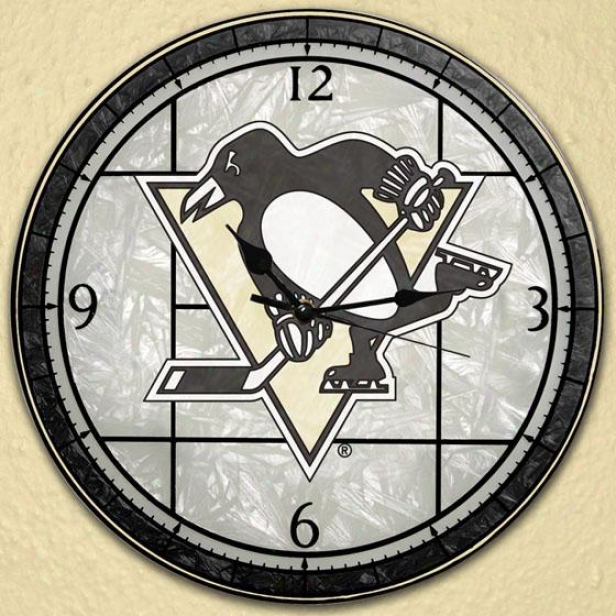 Sports Team Nhl Stained Art Glass Window Panel Clock - Nhl Teams, Pittsbrg Pengns