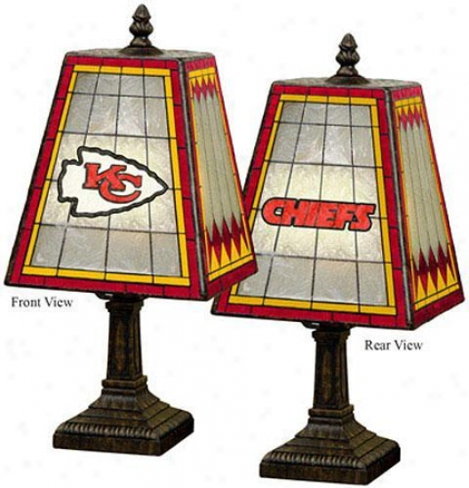 """sports Team Stained Art Glass Window Panel Stress  Lamp - 14.5""""hx7.5""""sqr, Chiefs"""
