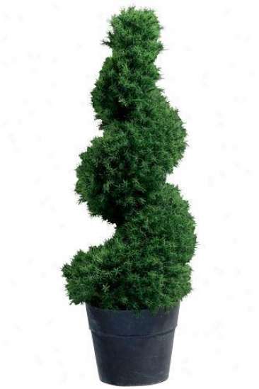 """springray Spiral Topiary With Tin Ceramic-like Base - 41""""h, Back"""