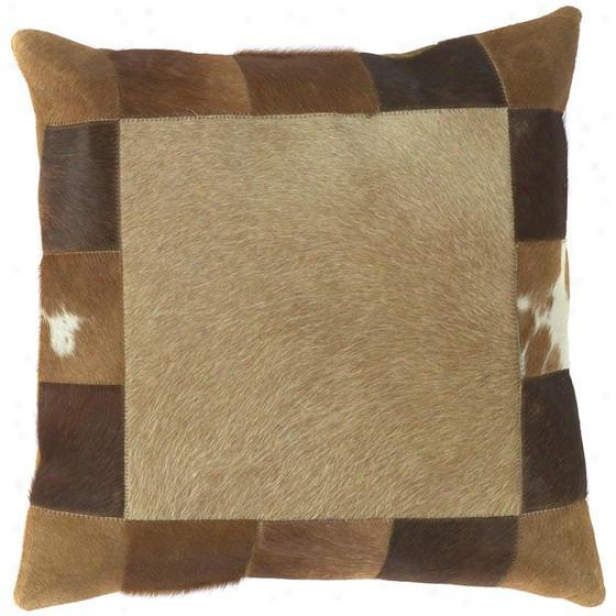 """square Bordered Pillows - Set Of 2 - 18""""x18"""", Brown"""