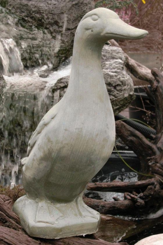 Footing Duck Statue - 17hx6.5wx12d, Antique Gray