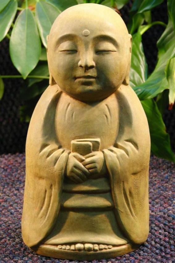 Standing Monk Statue - 10.5hx5wx5d, Bronze
