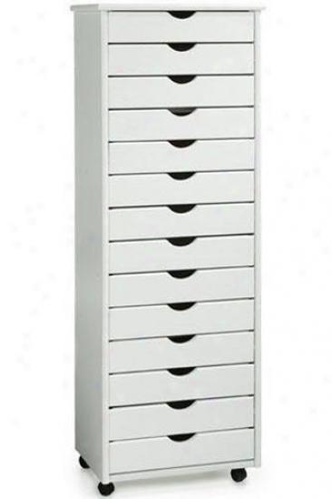 """""""stanton 14-drawer Wide Storage Cart - 57""""""""hx20""""""""w, White"""""""
