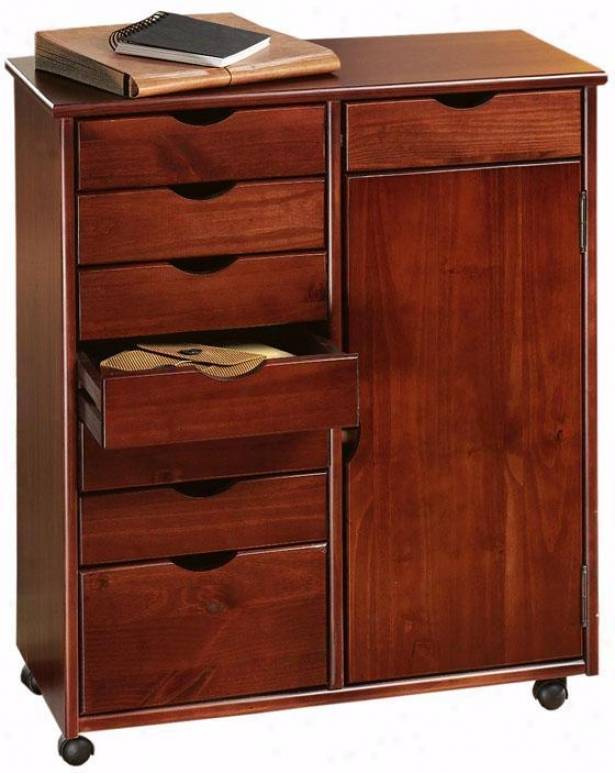 """stanton 7 + 1 Drawer Doublle-wide Storage Cart With Door - 35.5""""hx29""""w, Cdimson Red"""