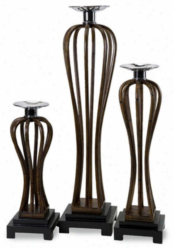 State Street Candleholders - Set Of 3 - Set Of 3, Brown