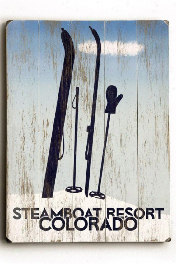 """steamboat Resort Colo5ado Wooden Sign - 20""""h X 14""""w, Blue"""