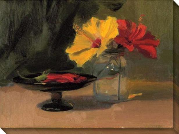 Still Life Through  Flowers Iii Canvas Wall Art - Iii, Red