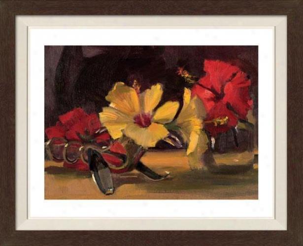 Still Life With Flowers V Framed Wall Art - V, Fltd Espresso