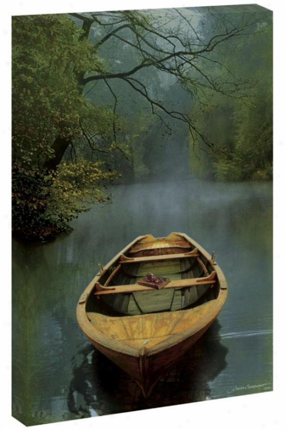 Still Water In the opinion of Boat Wall Art - 54hx3wx1.5d, Blue