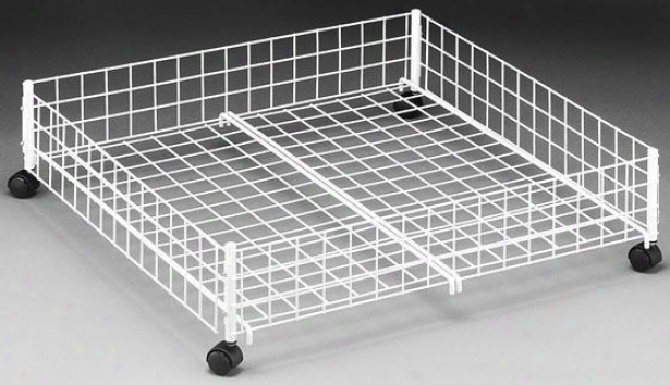 """storage White Wire Underrbed Cart - 6.5""""hx24""""w, White"""