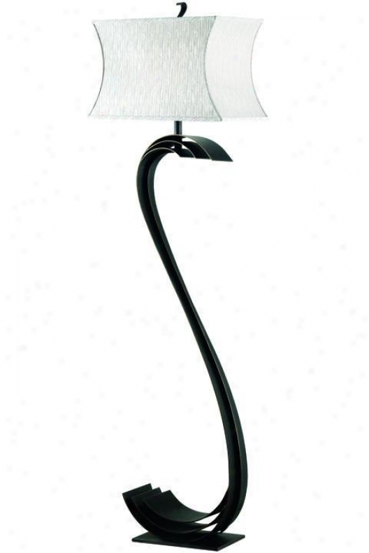 Steucture Nile Floor Lamp - Cream Stripe, Steel Gray
