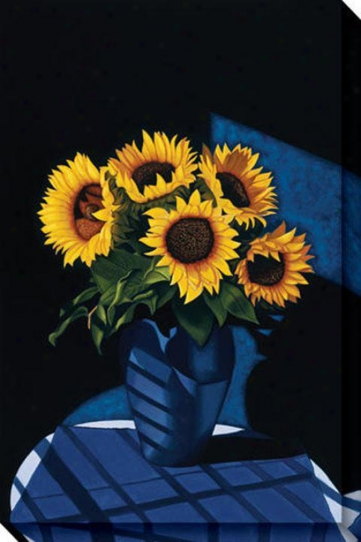 """studio Sunflowers Canvas Wall Art - 32""""hx48""""w, Blue"""