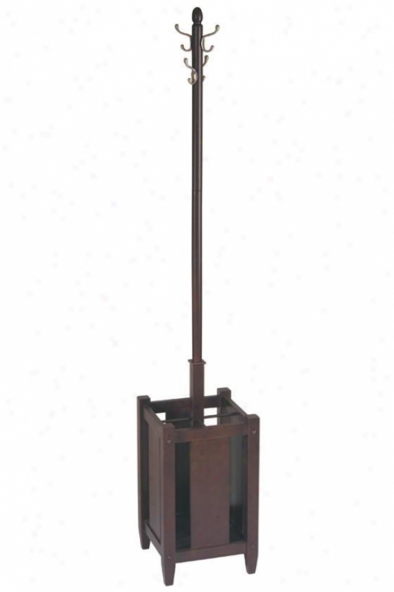 """aumatra Coat Tree With Umbrella Stand - 70""""h, Coffee Brown"""