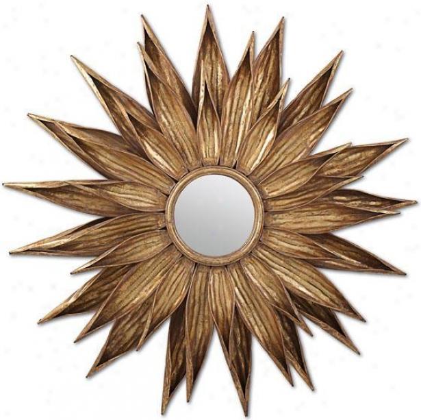 """sunflower  Antiqued Gold Wall Mirror - 34.5""""d, Gold"""