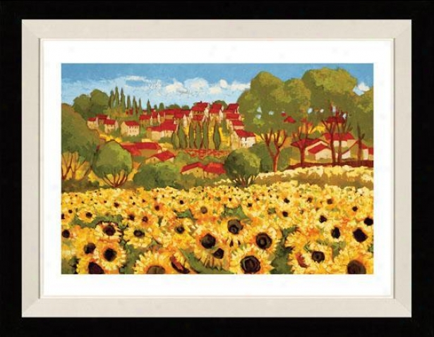 Sunflower Field I Framed Wall Art - I, Matted Black