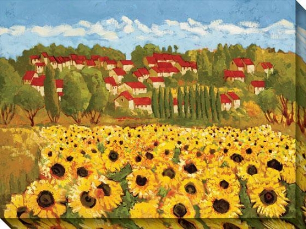 Sunflower Field Ii Canvas Walll Art - Ii, Yellow