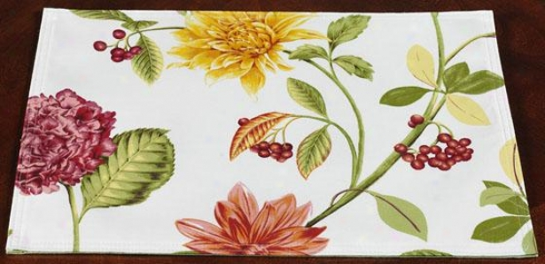 Sunshine Floral Indoor Outdoor Placemats - Set Of 4 - Set Of 4, Pink/green