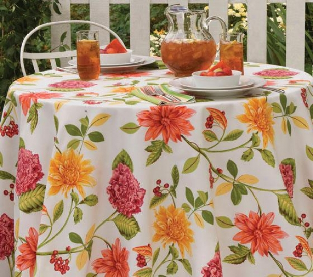 """sunshine Floral Indoor Outdoor Tablecloth - 60""""x102"""", Pink/green"""