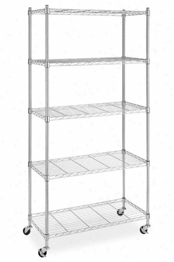 """Highest 5-tier Cart - 60""""hx30""""wx14""""d, Silver Chrome"""