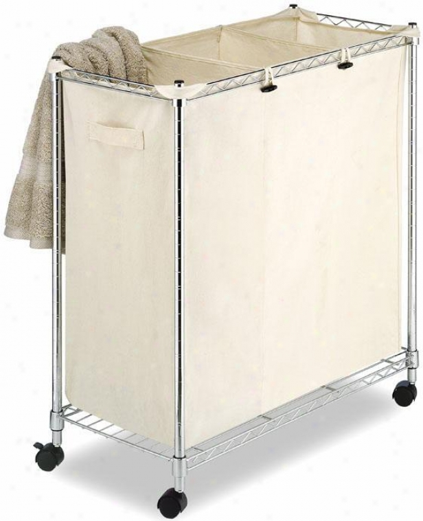 """supreme Canvas Laundry Sorter - 32""""hx30""""w, Chrome/canvas"""