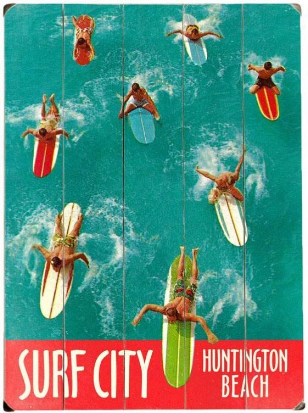 """surf City Wooden Sign - 20""""hx14""""w, Blue"""