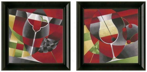Sweet Cocktails Framed Wall Art - Set Of 2 - Set Of Two, Red
