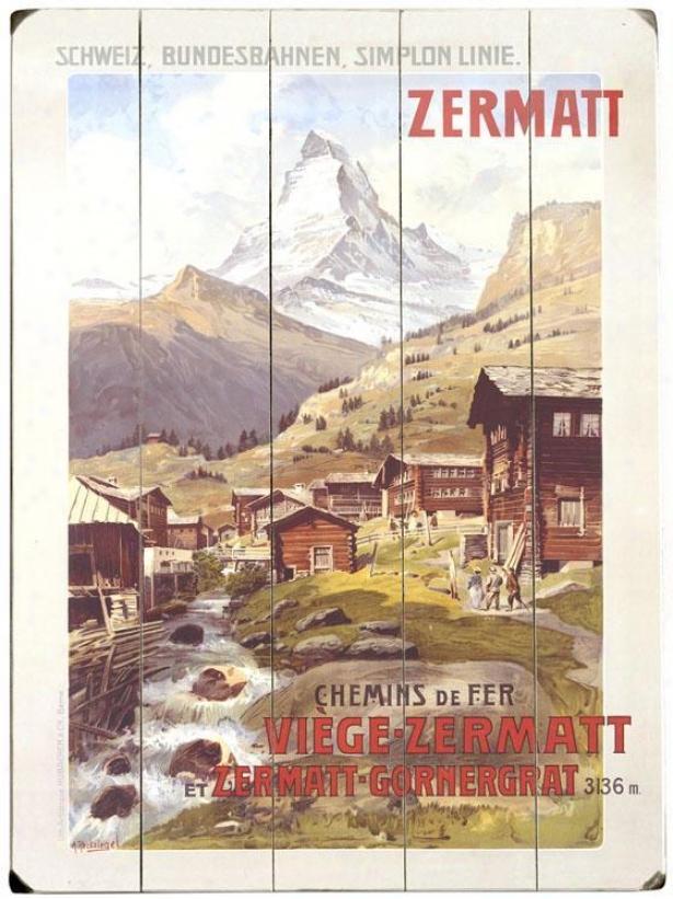 """""""swiss Alps Zermatt Matterhorn Wooden Sign - 20""""""""hx14""""""""w, White"""""""