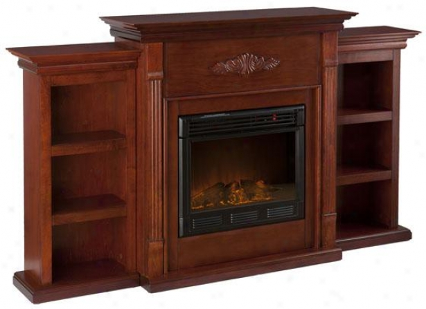 Tabitha Fireplace With Bookcases - Marked by ~ity Frplce, Maroon