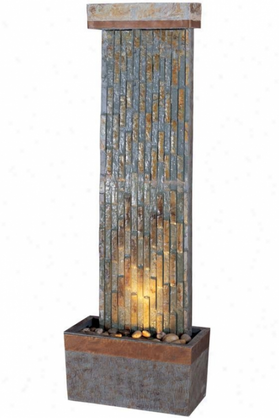 """tacora Vertical Floor Fountain - 49""""hx16""""w, Ntrl Slate/cppr"""