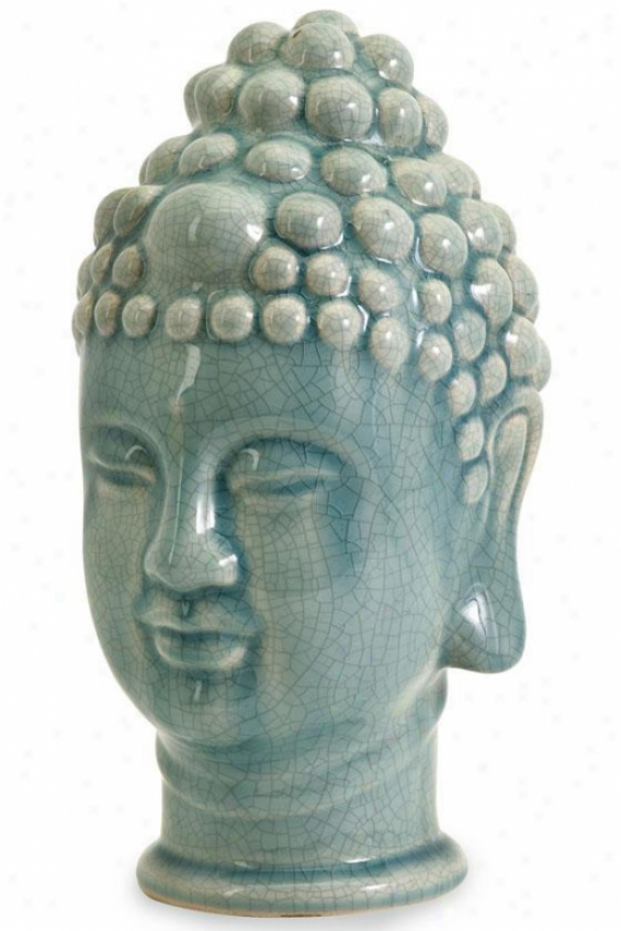 """taibei Ceramic Buddha Head - 11.5""""hx7.25""""w, Blue"""