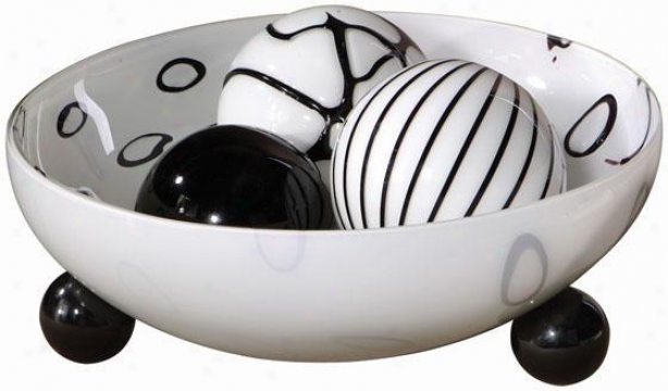 """takala Bowl With 3 Balls - 6""""hx13""""w, Ebony/chocolate"""