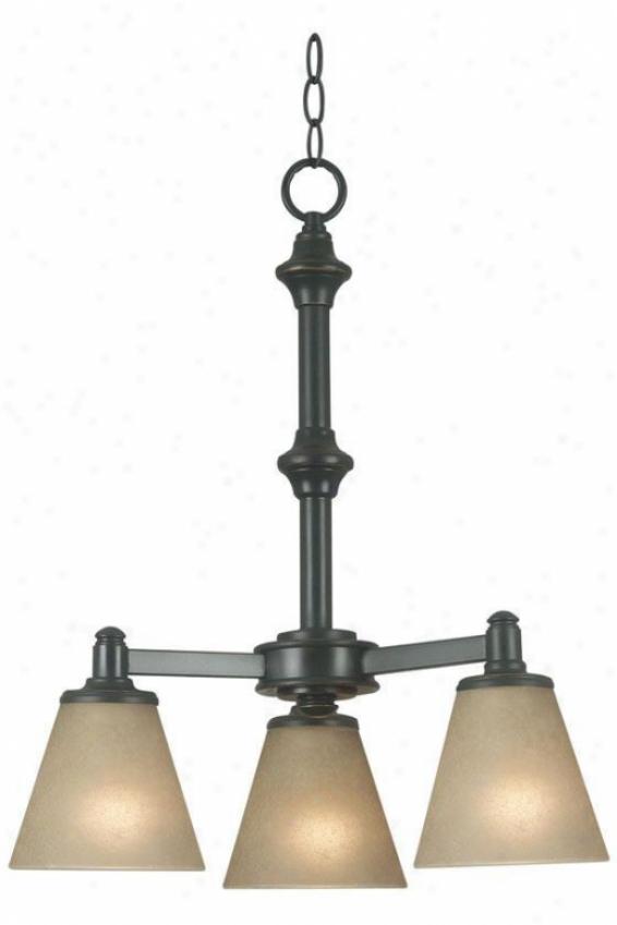 Tallow 3-light Chandelier - Amber Glass, Bronze
