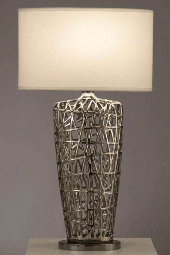 """tangled Oval Table Lamp - 30 X 17""""w, Silver Chrome"""