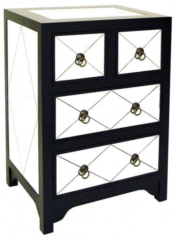 Tanner 2 2-drawer Reflector Chest - 2+2 Drawer, Black