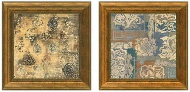 Tapestry Framed Wall Art - Set Of 2 - Set Of Two, Beige