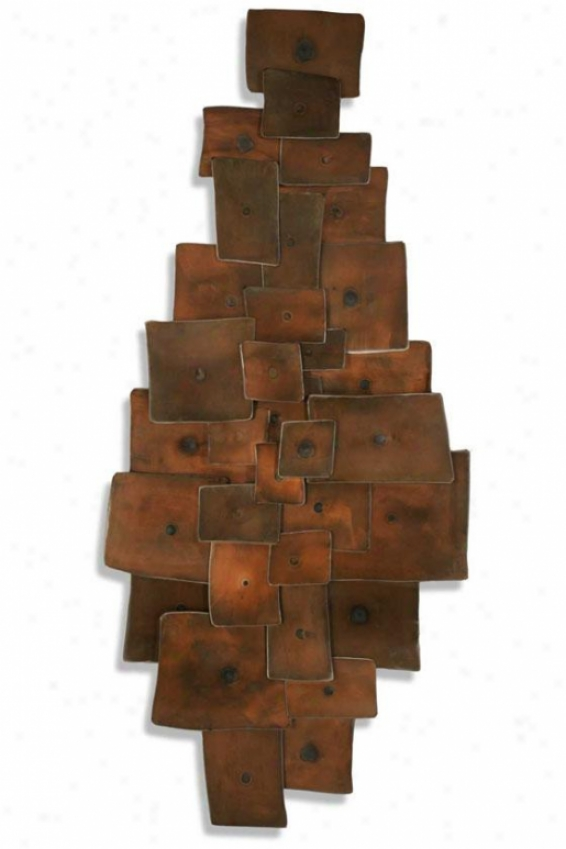 Tapestry Ii Wall Sculpture - 22hx49wx3d, Copper Brown