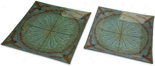 Tate Glass Trays - Set Of 2 - Set Of Pair, Blue