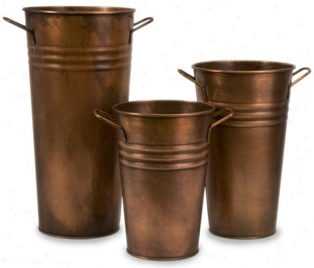 Tauba Copper Vase - Stud Of 3 - Set Of Three, Copper