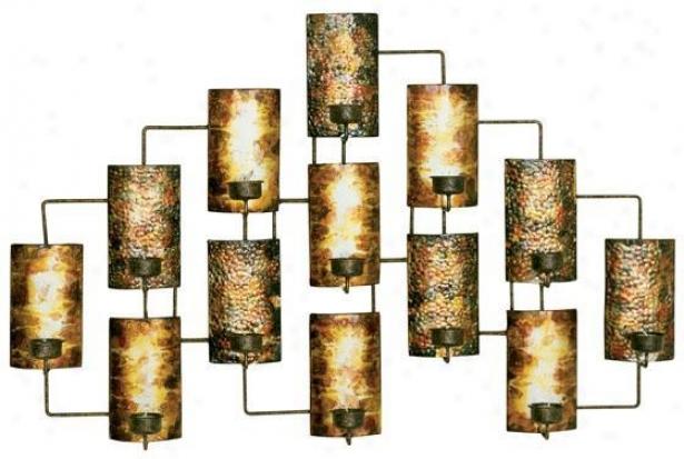 """""""tealight Candleholders Wall Art - 21.5""""""""hx34.5""""""""w, Golden"""""""