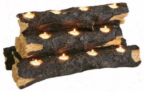 """tealight Fireplace Log - 10""""h, Brown"""