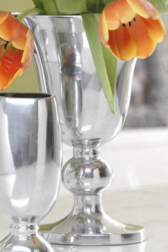 Tempo High Vase - Tempo Tall, Polished Silver